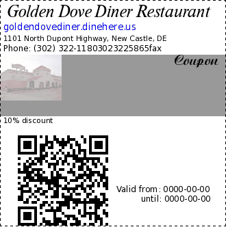 Golden Dove Diner Restaurant coupon : 10% discountnot valid with any other offer. No holidays. offer can be withdrawn without prior notification